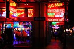Alimento e bevanda della via di New Orleans Bourbon immagini stock libere da diritti