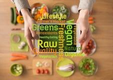 Alimento e conceitos do cozimento na tabuleta digital fotografia de stock