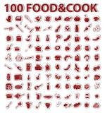 alimento e cozinheiro ajustados 100 etiquetas Imagens de Stock