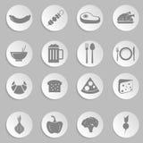 Alimento e cucinare l'insieme dell'icona Fotografie Stock Libere da Diritti