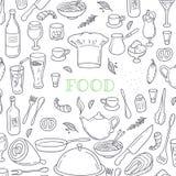 Alimento e fondo di scarabocchio del profilo della bevanda Mano Immagine Stock Libera da Diritti