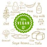 alimento 100% e prodotti del vegano Fotografia Stock Libera da Diritti