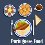 Alimento e sobremesas nacionais portugueses da culinária Fotos de Stock Royalty Free