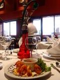 Alimento e vinho de mar do camarão Imagens de Stock Royalty Free