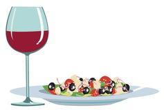 Alimento e vino leggeri Fotografia Stock