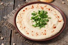 Alimento ebraico del cece di hummus cremoso in ciotola immagine stock libera da diritti