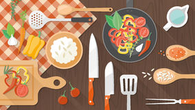 Alimento ed insegna di cottura Fotografie Stock