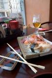 Alimento en el restaurante japaneese Fotografía de archivo