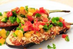 Alimento farcito della melanzana per il vegetariano Fotografia Stock