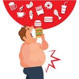 Alimento feliz do juck comer de Cartoor e os perigos da gordura da barriga ilustração royalty free