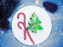 Alimento festivo doce da sobremesa do bolo da árvore de Natal Fotografia de Stock Royalty Free