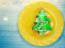 Alimento festivo doce da sobremesa do bolo da árvore de Natal Fotos de Stock