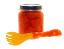 Alimento: Frasco de cenouras de bebê Foto de Stock