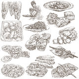 Alimento Freehands, coleção tirada mão Linha arte ilustração do vetor