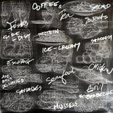 Alimento Freehands, coleção tirada mão Linha arte ilustração stock