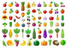 Alimento fresco verdure ed icone di frutti messe Fotografia Stock Libera da Diritti