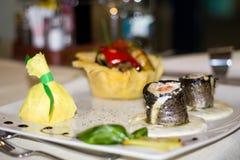Alimento gastronomico, pesce, trota con il salmone Fotografia Stock