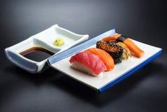 Alimento giapponese con il menu dei frutti di mare Fotografie Stock