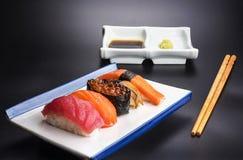 Alimento giapponese con il menu dei frutti di mare Immagini Stock Libere da Diritti