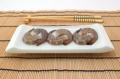 Alimento giapponese - gamberetti grezzi gastronomici della tigre del re dei sushi Immagine Stock Libera da Diritti