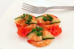 Alimento giapponese gastronomico - gamberetti cotti alla griglia della tigre del re su bianco Fotografia Stock