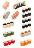 Alimento giapponese isolato su bianco Fotografia Stock Libera da Diritti
