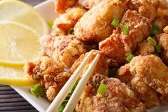 Alimento giapponese: karaage del pollo fritto con il limone e la cipolla verde immagine stock libera da diritti