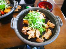 Alimento giapponese servito sulla tavola fotografia stock