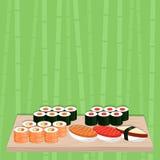 Alimento giapponese tradizionale Insieme dei sushi illustrazione vettoriale