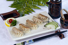 Alimento giapponese, un menu dei ravioli dei 5 giapponesi Fotografie Stock