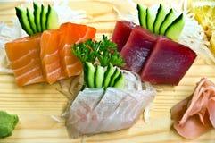 Alimento giapponese, un menu di 3 Sahimi- Fotografie Stock