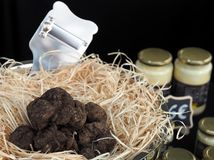 Alimento gourmet, pilha de trufas inteiras fotografia de stock