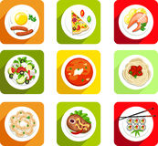 , alimento, icona piana, vista superiore, uova rimescolate, salsiccie, pizza, pesce, salmone, insalata, minestra, minestra, pasta Immagini Stock