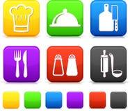 Alimento Icond en los botones cuadrados del Internet Fotos de archivo