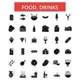 Alimento, illustrazione delle bevande, linea sottile icone, segni piani lineari, simboli di vettore illustrazione vettoriale