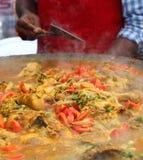 Alimento indiano da rua: Prato de galinha Fotos de Stock Royalty Free
