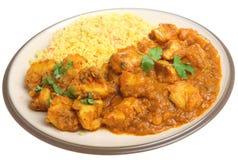 Alimento indiano della cena del curry del pollo Fotografia Stock Libera da Diritti