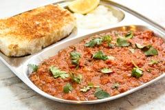 Alimento indiano della via di Masala di bhaji del Pav Immagine Stock Libera da Diritti