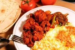 Alimento indiano di biryani del pasto con il masala del pollo e la s Fotografia Stock