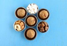 Alimento indiano di festival di Laddu della noce di cocco ed i suoi ingredienti in piatti d'acciaio e ciotole Fotografia Stock Libera da Diritti