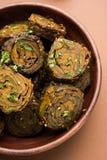 Alimento indiano Patra o Paatra o alluminio Vadi Fotografia Stock Libera da Diritti