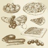 Alimento italiano, pizza, verdure Immagini Stock