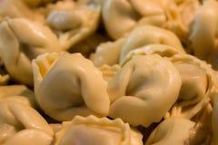 Alimento italiano, tortellini con il materiale da otturazione della carne immagine stock libera da diritti