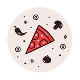 Alimento italiano tradicional Ejemplo de los ingredientes de la pizza en fondo del círculo Un círculo de iconos Italiano tradicio Foto de archivo libre de regalías
