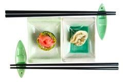 Alimento japonés en el fondo blanco imagen de archivo libre de regalías