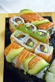 Alimento japonés, maki del menú Fotos de archivo libres de regalías