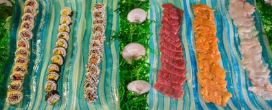 Alimento japonês Barra de sushi peixes cortados crus Fotos de Stock