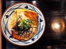 Alimento japonês da vista superior, arroz friável da carne de porco foto de stock royalty free