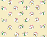 Alimento japonês, fundo sem emenda do teste padrão dos desenhos animados Imagens de Stock