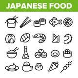 Alimento japon?s, grupo linear dos ?cones do vetor do sushi ilustração stock